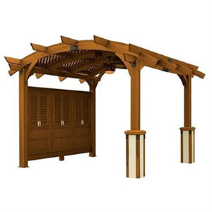 Sonoma Arched Wood Pergola 12x13 Redwood