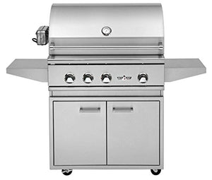Delta Heat Grill on Cabinet with Rotisserie and Sear Zone (DHBQ32RS-C-L-DHGB32-C), 32-Inch, Propane Gas