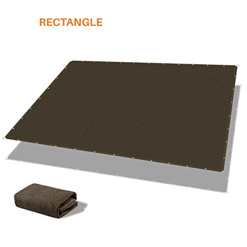 Sunshades Depot 12' x 16' Heavy Duty Straight Side Sun Shade Sail Brown Patio Rectangle 240 GSM Shade Fabric UV Shelter Pergola Cover for Outdoor Backyard Deck - Custom Size Available