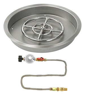 "American Fireglass 19"" Round Stainless Steel Drop-In Pan with Match Light Kit (12"" Fire Pit Ring) Propane"