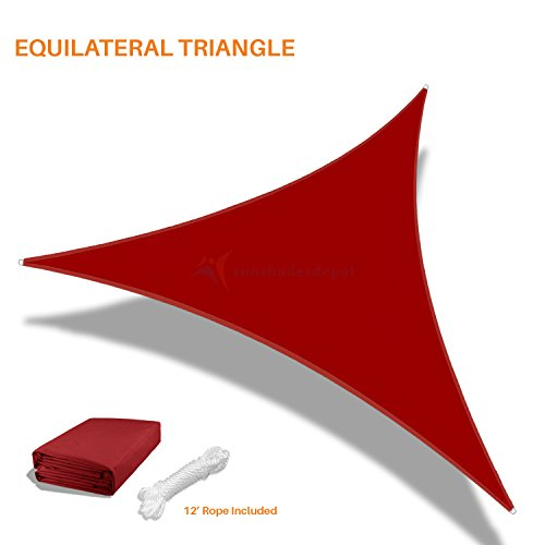 Sunshades Depot 20'x20'x20' Equilateral Triangle Waterproof Knitted Shade Sail Curved Edge Red 220 GSM UV Block Shade Fabric Pergola Carport Awning Canopy Replacement Awning