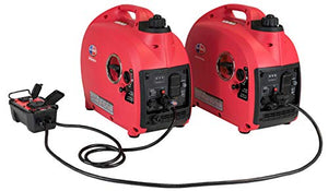 All Power America APG2000ISCK2 2000 Watt Portable Inverter Generators Combo Kit, Red