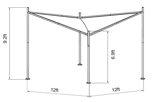 Abba Patio Steel/Polyester Fabric Square Butterfly Gazebo