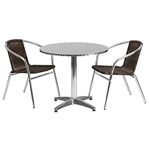 ModHaus Living Contemporary Bistro Set Round Table and 2 Rattan Chairs with Stainless Steel Table Top - Includes Pen