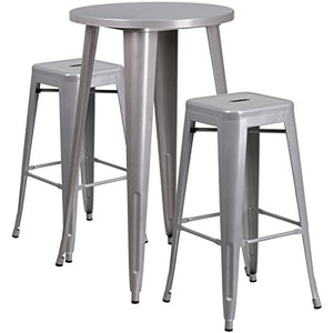 Bowery Hill Round Patio Bistro Set in Gray