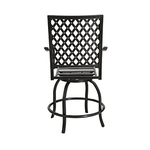Ulax furniture Outdoor 2-Piece Counter Height Swivel Bar Stools High Patio Dining Chair Set
