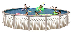 Allero Round Above Ground Swimming Pool Package 27 ft. x 52 in.
