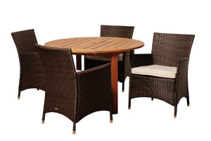 Amazonia Utah 5-Piece Eucalyptus/Wicker Round Dining Set with Off-White Cushions