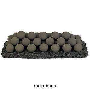 American Fireglass Uniform Ceramic Lite Stone Fire Pit Balls (AFG-FBL-TG-36-U), Set of 38, Thunder Gray