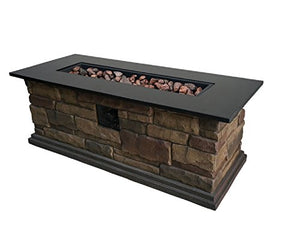 "Granite Top 20-in W 50,000-BTU Stone Look Composite Liquid Propane Fire Pit Table 48"" Includes Cover"