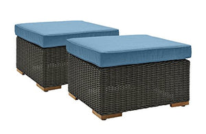 La-Z-Boy Outdoor New Boston Resin Wicker Patio Furniture Ottomans (2 Pack), Denim Blue With All Weather Sunbrella Cushions
