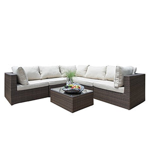 Supernova Outdoor Patio 6pc Sectional Furniture Wicker Rattan Sofa Set (6 Pcs Sofa Set)