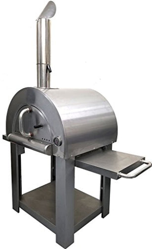 "31"" Wood Fired Stainless Steel Artisan Pizza Oven or Grill with Side Tables, Outdoor or Indoor"