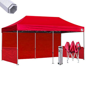 Eurmax Premium 10 X 20 Pop up Canopy, Event Canopy, Market Stall Canopy Booth Portable Exhibition Booth Trade Show Display Outdoor Canopy Bonus: Four (4) Weight Bags+Roller Bag (Red)