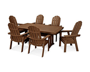 POLYWOOD Vineyard Adirondack 7-Piece Nautical Trestle Dining Set (Teak)