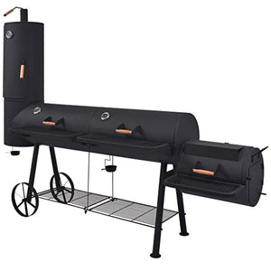 K Top Deal XXXL BBQ Offset Smoker with Bottom Shelf Charcoal Barbecue Grill, Black