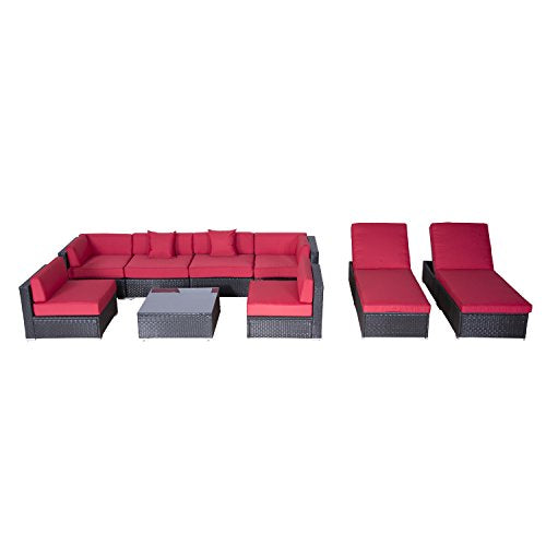 Outsunny Modern 9 Piece Outdoor Patio Rattan Wicker Sofa Sectional & Chaise Lounge Furniture Set - Crimson