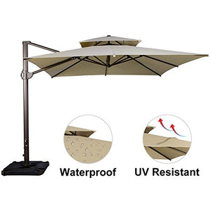 SORARA 10 by 10 ft Square Offset Cantilever Umbrella Patio Hanging Umbrella with Dual Wind Vent, Cross Base & 4 pcs Base Weight and Umbrella Cover, Beige