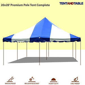20-Foot by 20-Foot Blue and White Pole Tent, Commercial Canopy Heavy Duty 16-Ounce Vinyl for Parties, Weddings, and Events
