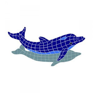 "Artistry in Mosaics Diving Dolphin with Shadow Ceramic Swimming Pool Mosaic (32"" x 42"")"