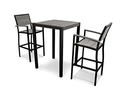 Trex Outdoor Furniture Surf City 3-Piece Bar Set in Textured Black / Stepping Stone
