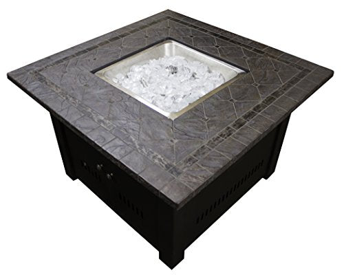 Hiland Square Faux Stone Firepit with Table Top,Mocha