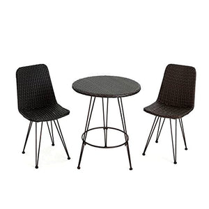 High Top Patio Table and Chairs Set for Indoor and Outdoor Combo, 3 Piece Wicker and Iron Garden Bistro Coffee Round Table with 2 Chairs, Modern Inexpensive Patio Dining Table & E-Book