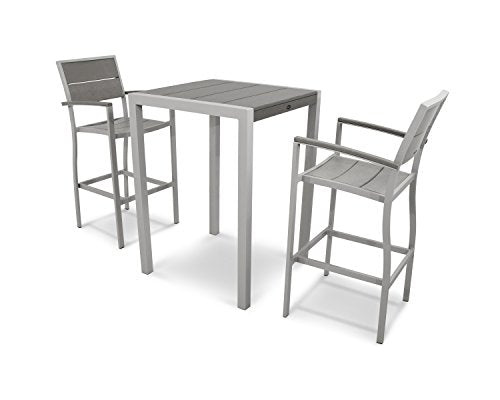 Trex Outdoor Furniture Surf City 3-Piece Bar Set in Textured Silver / Stepping Stone