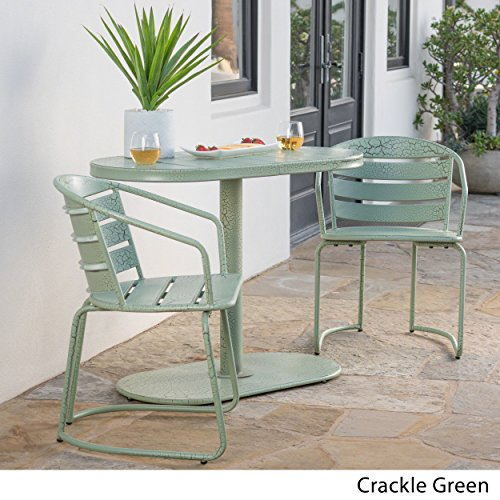 Matts Global Modern Contemporary Santa Monica Outdoor 3-Piece Oval Bistro Chat Set Powder Coated Iron (Crackle Green)