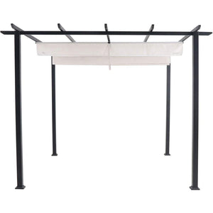 Hanover Reed Aluminum and Steel Pergola with Adjustable Sling Canopy, Gray D x 9.8' W x 7.6' H, REEDPERG-Gry Outdoor Furniture, White