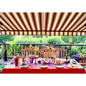 ALEKO 12x10 Feet Retractable Patio Awning, Multistripe Red (3.5m x 3m)