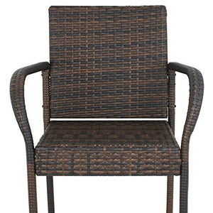 SUPER DEAL Wicker Bar Stool Outdoor Backyard Rattan Chair Patio Furniture Chair w/Iron Frame, Armrest and Footrest, Set of 4 (#4)