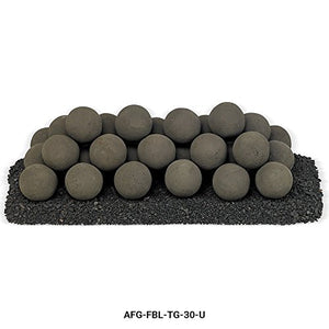 American Fireglass Uniform Ceramic Lite Stone Fire Pit Balls (AFG-FBL-TG-30-U), Set of 32, Thunder Gray