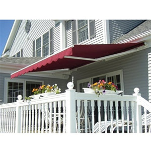 ALEKO AWM20X10BURGUNDY Retractable Motorized Patio Awning 20 x 10 Feet Burgundy