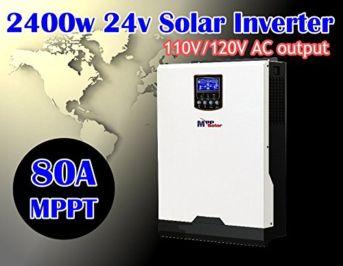 MPP SOLAR Hybrid Split Phase 4800w Pure Sine Wave Power Inverter with mppt Solar Charger 80A DC 24V AC Output 120V 240V with 60A Utility Charger 50HZ or 60HZ
