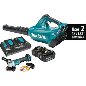 Makita XBU02PTX1 18V X2 (36V) LXT Lithium-Ion Brushless Cordless Blower Kit (5.0Ah) and Brushless Angle Grinder