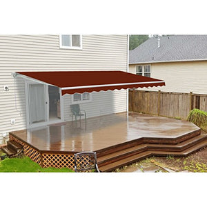 ALEKO AWM16X10BURG37 Retractable Motorized Patio Awning 16 x 10 Feet Burgundy