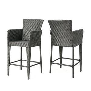 Christopher Knight Home 304478 Anaya Wicker Barstool, Grey
