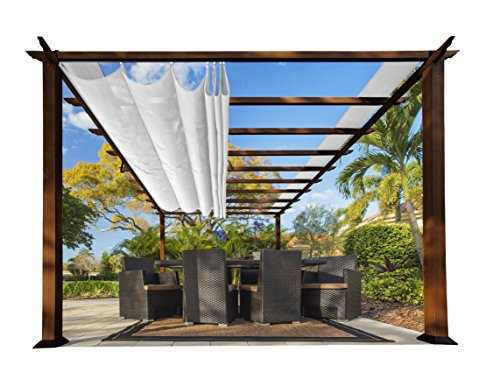 Paragon-Outdoor PR16WD2W Backyard Structure Soft Top with Canadian Cedar Frame Verona Pergola, 11' x 16', Off White