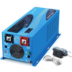 SUNGOLDPOWER 3000W Peak 9000W Pure Sine Wave Power Inverter DC 12V AC 110V With Battery AC Charger 90A LCD Display Low Frequency Solar Converter BTS+Remote Control AC Priority Battery Priority Switch