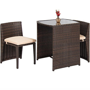 3PCS Outdoor Wicker Bistro Set Dining Patio Lawn Garden Pool Side Furniture Chairs And Tempered Glass Top Table Removable Cushions