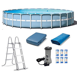 "Prism Frame Pool Set Water Swimming Pools 24' x 52"" Above Ground Pool Floats Round Frame Set With Ladder Cover Pump & Filter Cartridges - Skroutz"