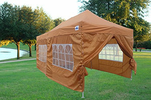 10'x20' Ez Pop up Canopy Party Tent Instant Gazebos 100% Waterproof Top with 6 Removable Sides Burnt Orange - E Model By DELTA Canopies