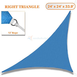 Sunshades Depot 24' x 24' x 33.9' Sun Shade Sail Right Triangle Permeable Canopy Ice Blue Custom Size Available Commercial Standard 180 GSM HDPE