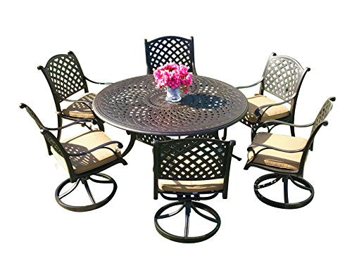 Round Table Patio Dining Sets.Table Chair Designs Nevada 7 Piece Cast Aluminum Patio Dining Set With 60 Round Table Sunbrella Premium Cushions 6 Swivel Rocking Chairs