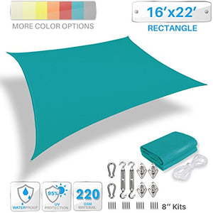 Patio Paradise 16' x 22' Waterproof Sun Shade Sail with Stainless Steel Hardware-Turquoise Green Rectangle UV Block Durable Awning Canopy Outdoor Garden Backyard