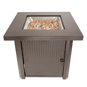 Pleasant Hearth OFG321S Wilmington Gas Fire Pit Table, Hammered Bronze