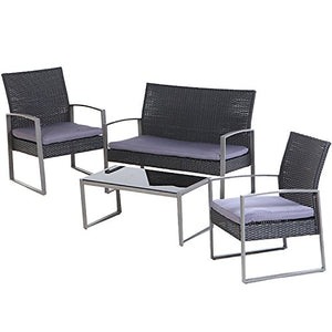 Grand patio 4 PC Outdoor Wicker Furniture Set Modern Outdoor Garden Rattan Loveseat Sofa Cushioned