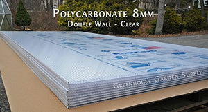 "POLICARB Polycarbonate Greenhouse Cover 8mm - Clear 48"""" x 96"" (Pak of 5)"