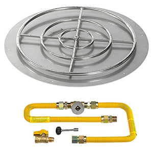 American Fireglass Round Stainless Steel Flat Pan with Match Light Kit